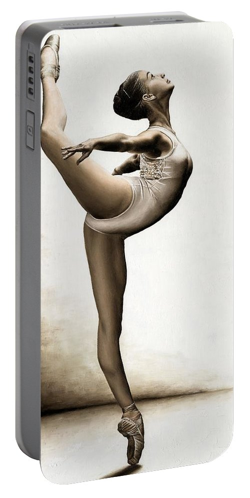 Dance Portable Battery Charger featuring the painting Musing Dancer by Richard Young