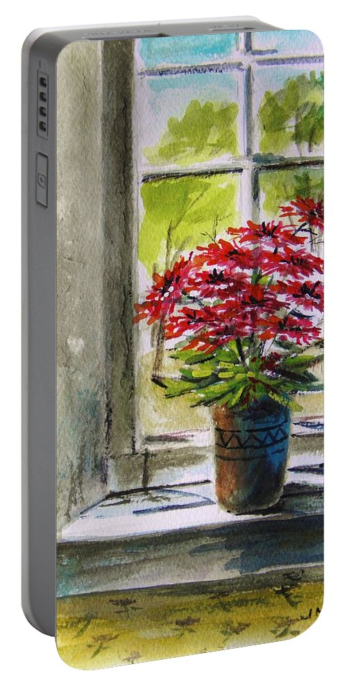 Gerbera Daisies Portable Battery Charger featuring the painting Musing-gerberas At The Window by John Williams