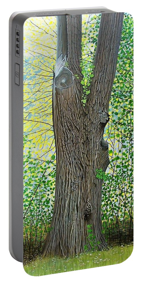 Landscape Portable Battery Charger featuring the painting Muskoka Maple by Kenneth M Kirsch