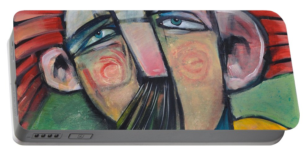 Humor Portable Battery Charger featuring the painting Mustached Man In Wind by Tim Nyberg