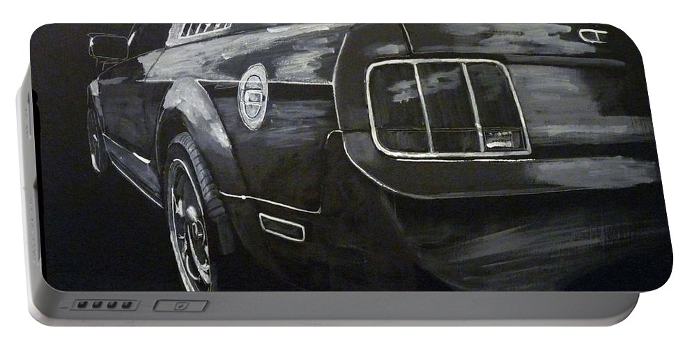 Ford Portable Battery Charger featuring the painting Mustang Rear by Richard Le Page