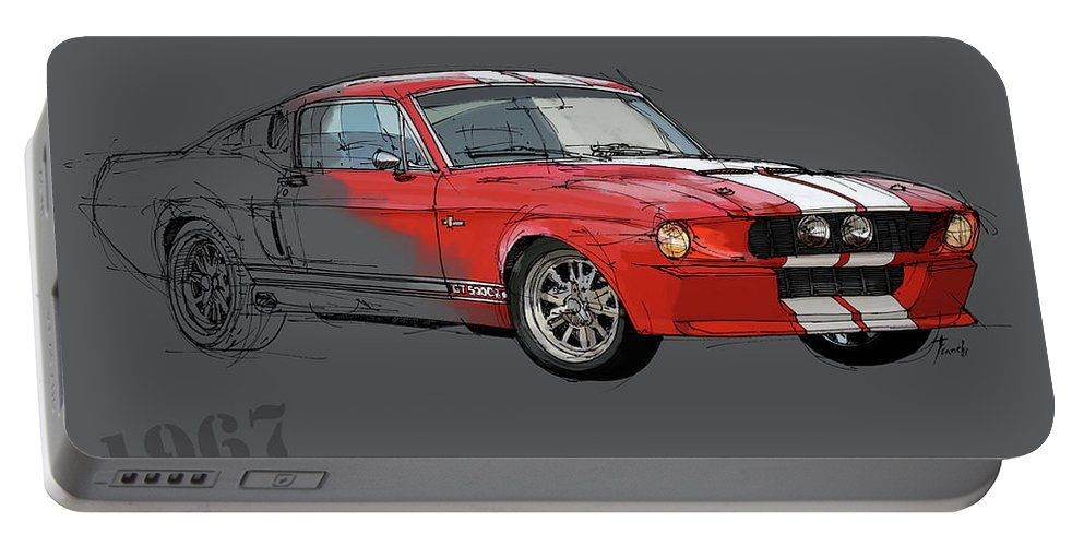 Mustang Portable Battery Charger featuring the digital art Mustang Shelby Gt500 Red, Handmade Drawing, Original Classic Car For Man Cave Decoration by Drawspots Illustrations