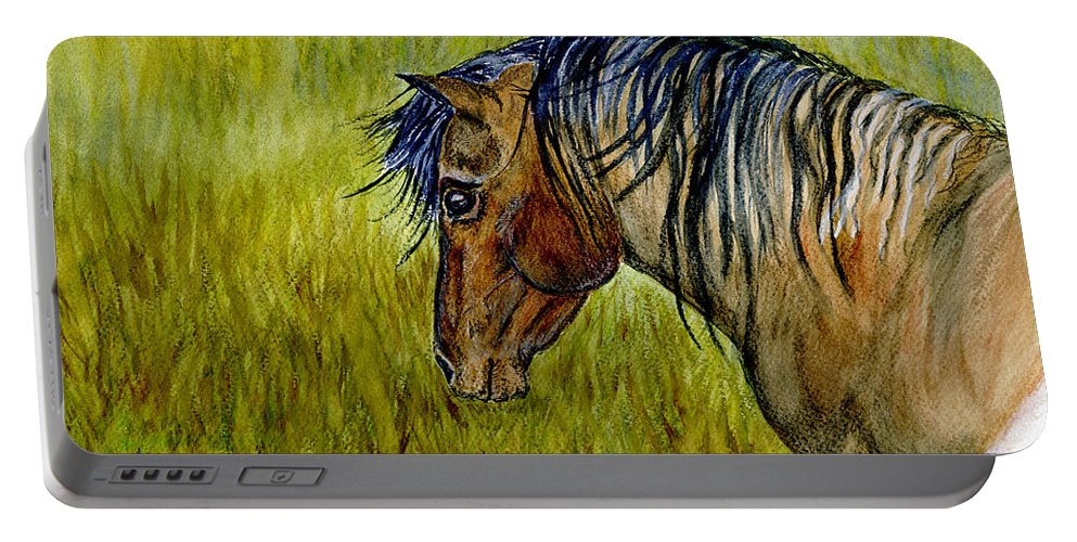Horse Portable Battery Charger featuring the painting Mustang Stallion by Jim And Emily Bush
