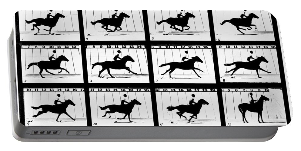 1878 Portable Battery Charger featuring the photograph Muybridge: Horse by Granger