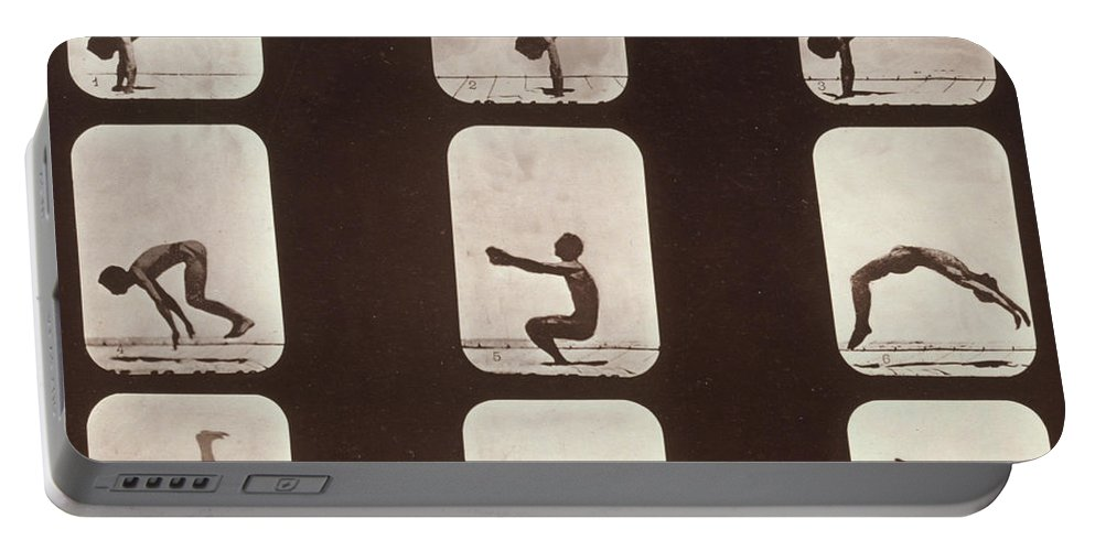 High-speed Photography Portable Battery Charger featuring the photograph Muybridge Locomotion Back Hand Spring by Photo Researchers