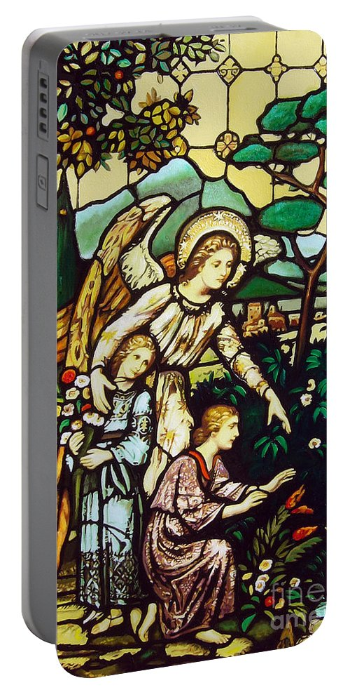 Portable Battery Charger featuring the painting My Angel by Jose Manuel Abraham