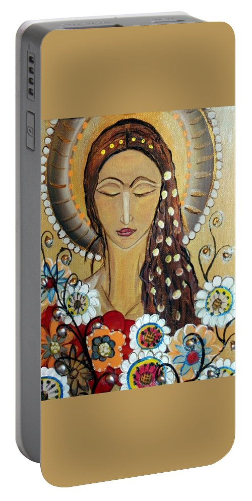 Art Portable Battery Charger featuring the painting My Angel Modern Icon by Luiza Vizoli