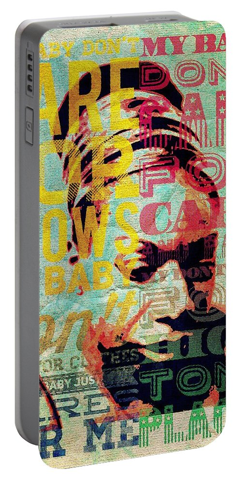 Nina Simone Portable Battery Charger featuring the digital art My Baby Just by Sara Sutton