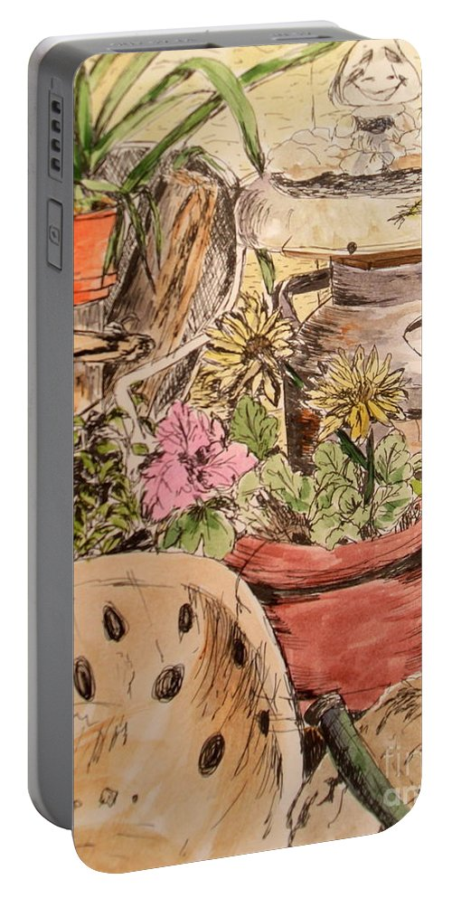 Back Porch Portable Battery Charger featuring the painting My Back Porch Partial by Vicki Housel