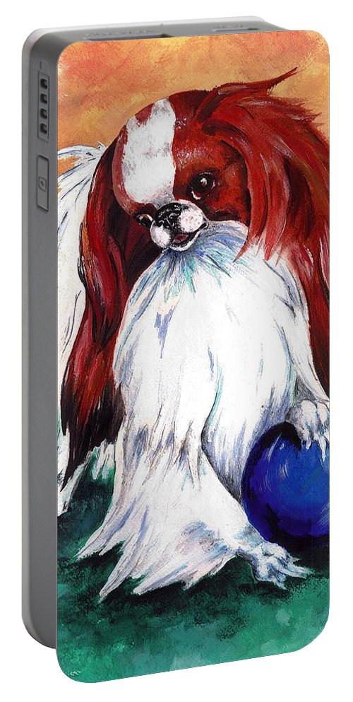 Japanese Chin Portable Battery Charger featuring the painting My Ball by Kathleen Sepulveda