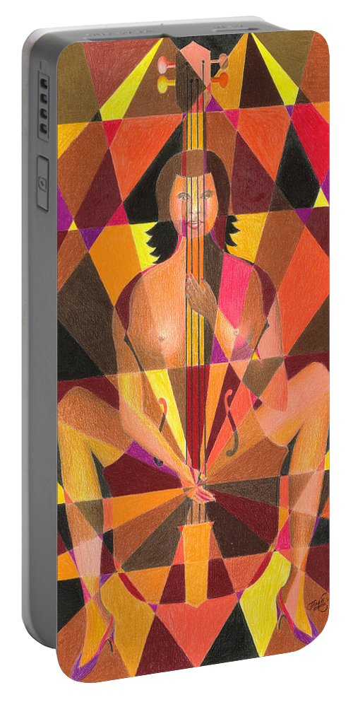 Jazz Portable Battery Charger featuring the painting My Bass by James Mingo