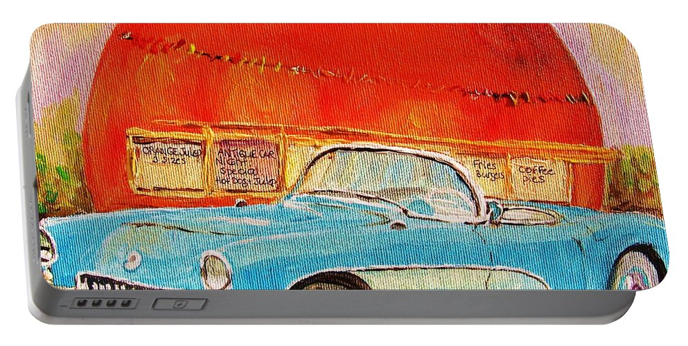 Montreal Portable Battery Charger featuring the painting My Blue Corvette at the Orange Julep by Carole Spandau