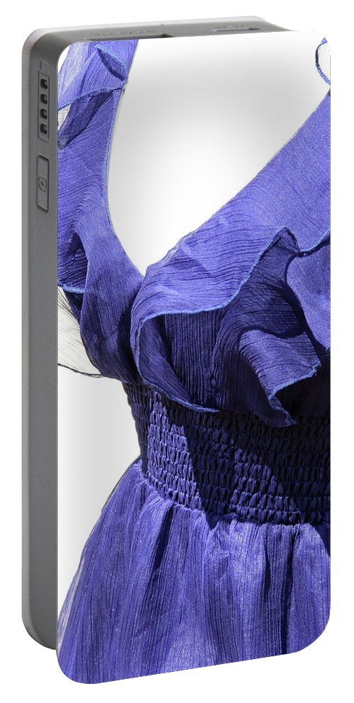 Blue Portable Battery Charger featuring the photograph My Blue Dress by Cora Wandel