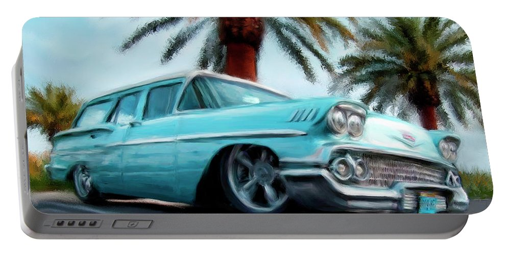 Cars Portable Battery Charger featuring the painting My Blue Heaven by Colleen Taylor