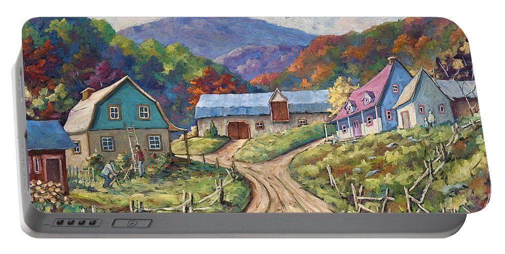 Country Portable Battery Charger featuring the painting My Country My Village by Richard T Pranke