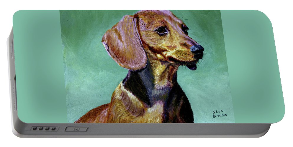 Daschund Portable Battery Charger featuring the painting My Daschund by Stan Hamilton