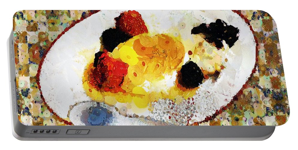 Dessert Portable Battery Charger featuring the painting My Dinner With Gustav by RC DeWinter