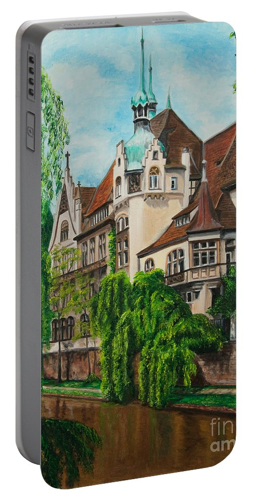 Dream House Portable Battery Charger featuring the painting My Dream House by Charlotte Blanchard