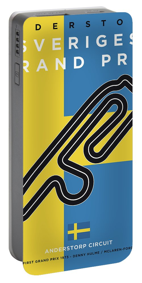 Swedish Portable Battery Charger featuring the digital art My F1 Anderstorp Race Track Minimal Poster by Chungkong Art