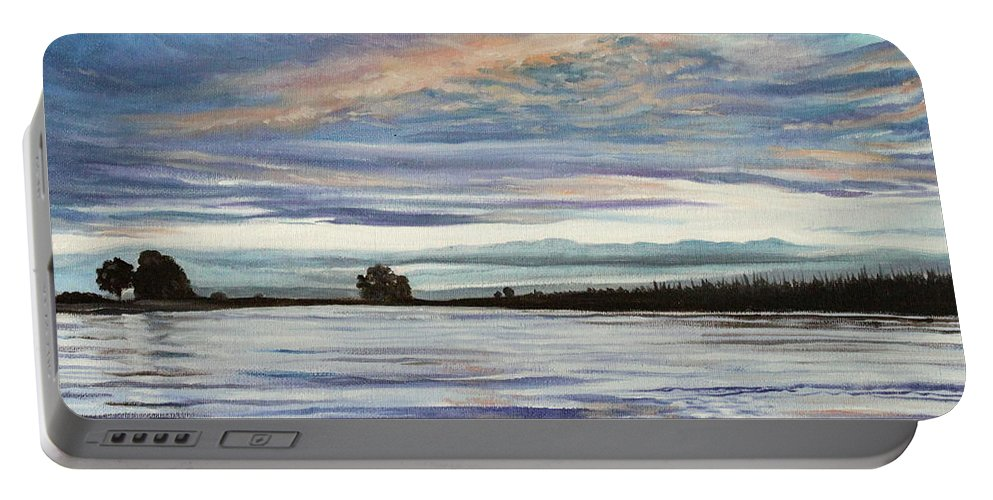 Landscape Portable Battery Charger featuring the painting My First Sunset by Elizabeth Robinette Tyndall
