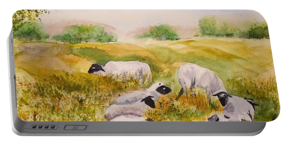 Sheep Portable Battery Charger featuring the painting My Flock Of Sheep by Vicki Housel