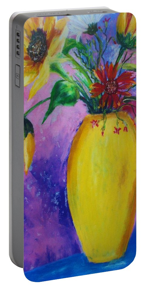 Sunflowers Portable Battery Charger featuring the painting My Flowers by Melinda Etzold