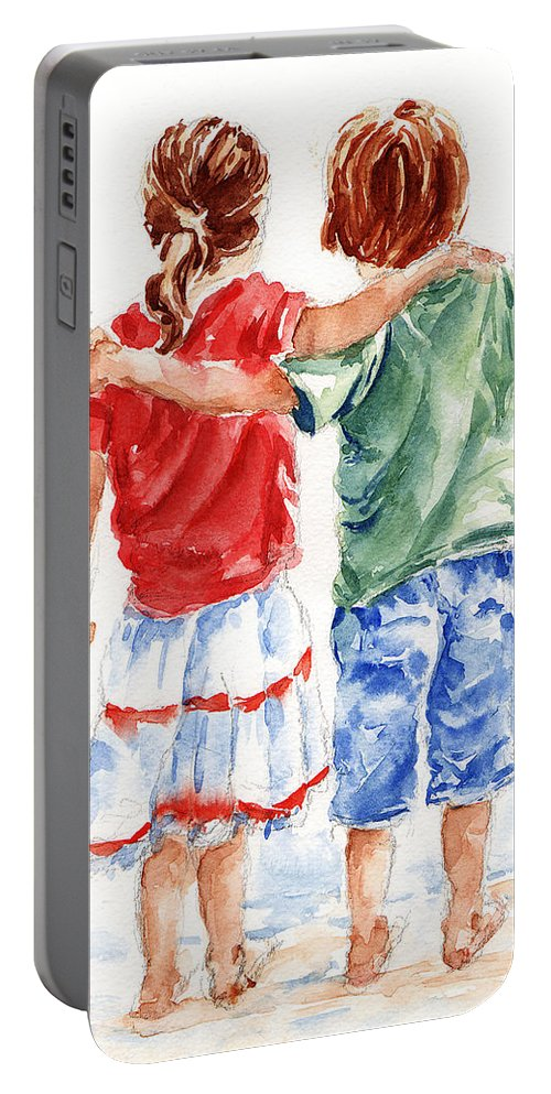 Watercolour Portable Battery Charger featuring the painting My Friend by Stephie Butler