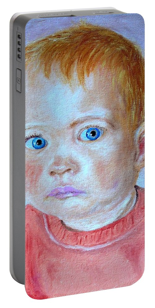 Leonie Portable Battery Charger featuring the painting My Granddaughter Leonie by Helmut Rottler