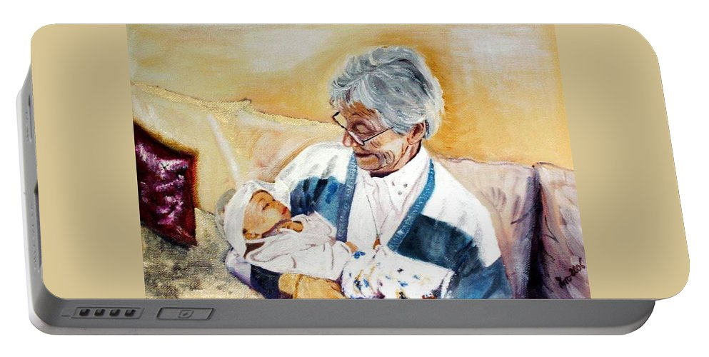 Portrait Portable Battery Charger featuring the painting my granddaughter Leonie with her great grandmum by Helmut Rottler