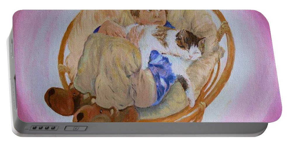 Portrait Portable Battery Charger featuring the painting my grandson Pascal with his cat Paul by Helmut Rottler