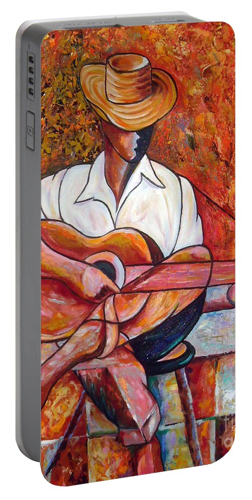 Cuba Art Portable Battery Charger featuring the painting My Guitar by Jose Manuel Abraham