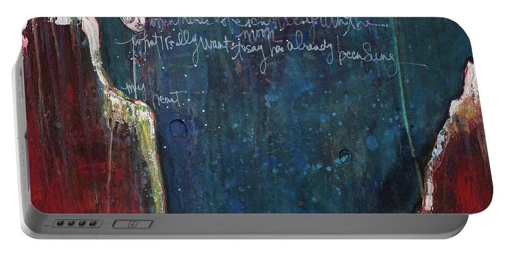 Love Portable Battery Charger featuring the painting My Heart by Laurie Maves ART