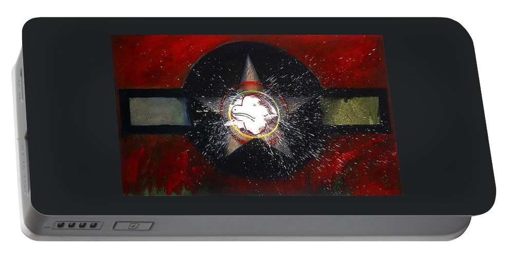 Usaaf Insignia Portable Battery Charger featuring the painting My Indian Red by Charles Stuart
