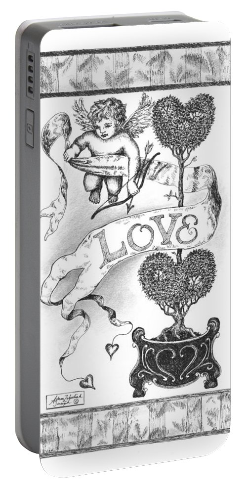 Black Portable Battery Charger featuring the drawing My Love by Adam Zebediah Joseph