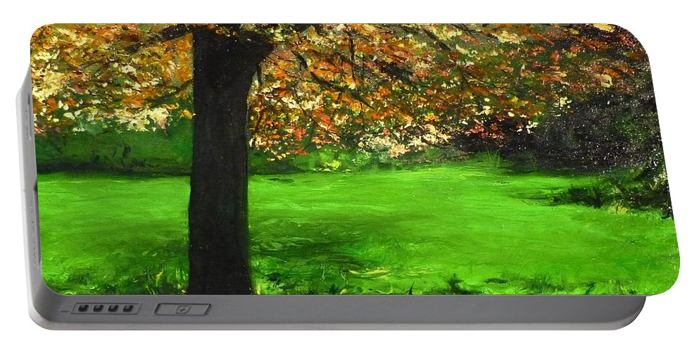 Spiritualism Portable Battery Charger featuring the painting My Love Of Trees I by Lizzy Forrester