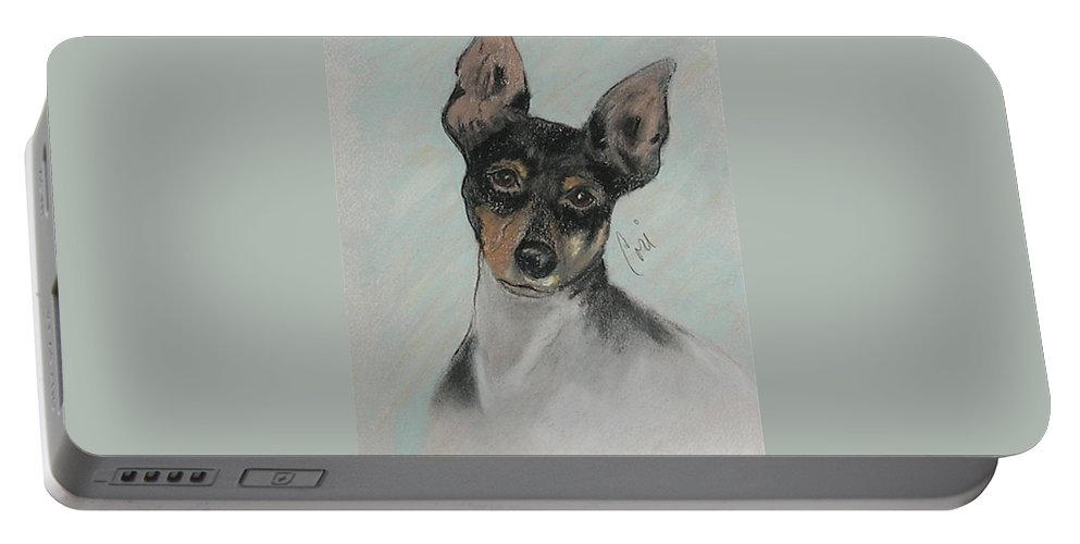 Toy Fox Terrier Portable Battery Charger featuring the drawing My Oh My by Cori Solomon
