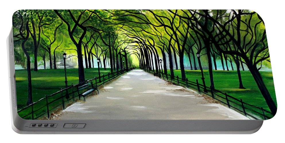 Landscape Portable Battery Charger featuring the painting My Poet's Walk by Elizabeth Robinette Tyndall