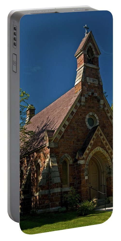 my Redeemer Lives Portable Battery Charger featuring the photograph My Redeemer Lives Church by Paul Mangold