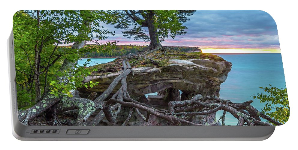 Meme Portable Battery Charger featuring the photograph My Roots Are Strong Chapel Rock -6121 Pictured Rocks Michuigan by Norris Seward