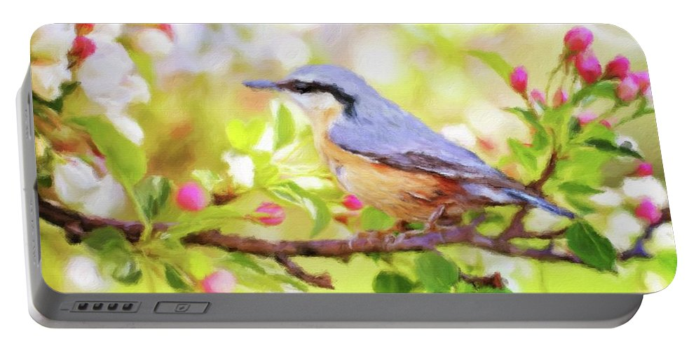 Landscape Portable Battery Charger featuring the painting My Summer Bird by Sarah Kirk