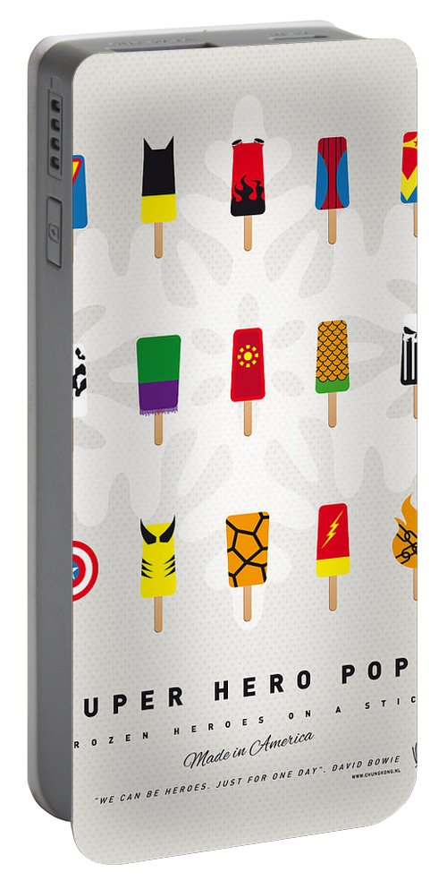 Superheroes Portable Battery Charger featuring the digital art My Superhero Ice Pop - Univers by Chungkong Art