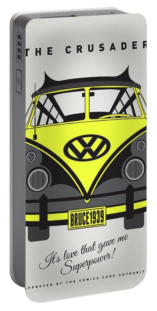 Superheroes Portable Battery Charger featuring the digital art My Superhero-vw-t1-batman by Chungkong Art