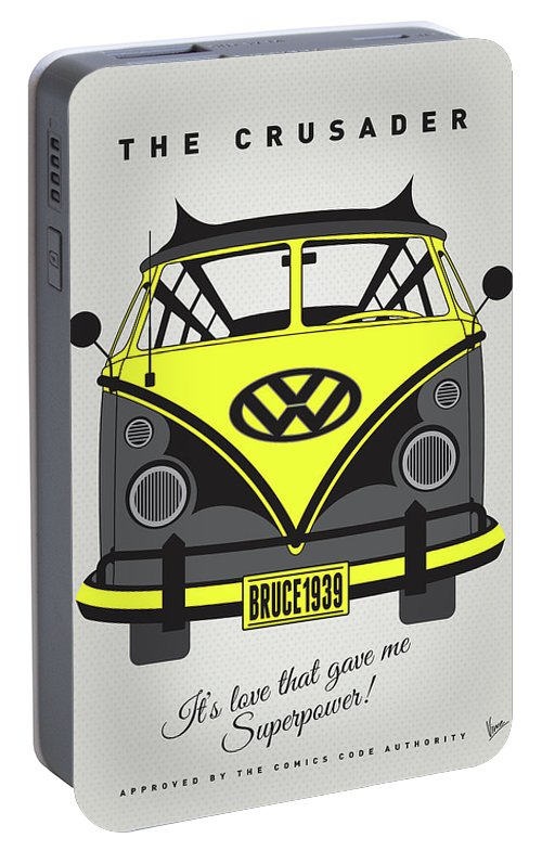 Superheroes Portable Battery Charger featuring the digital art My Superhero-vw-t1-batman by Chungkong Art