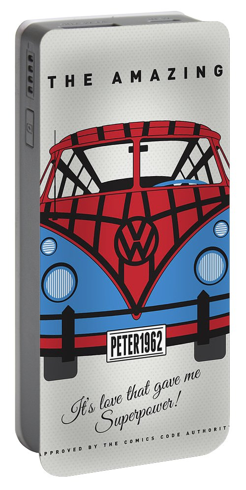 Superheroes Portable Battery Charger featuring the digital art My Superhero-vw-t1-spiderman by Chungkong Art