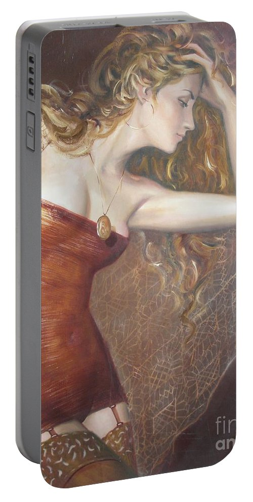 Ignatenko Portable Battery Charger featuring the painting My Talisman by Sergey Ignatenko