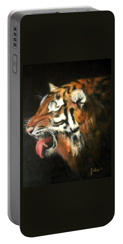 Tiger Portable Battery Charger featuring the painting My Tiger - The Year Of The Tiger by Jordana Sands