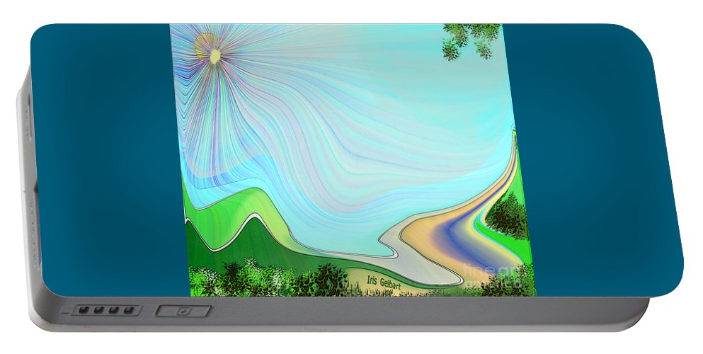 Landscape Portable Battery Charger featuring the digital art My Valley Home by Iris Gelbart