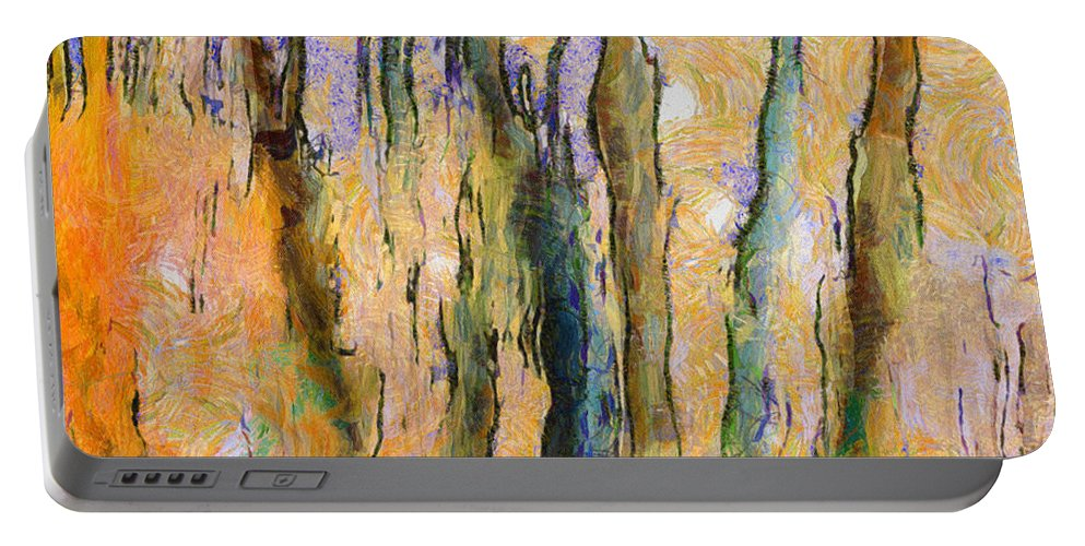Trees Portable Battery Charger featuring the painting My Vangoch by Lelia DeMello