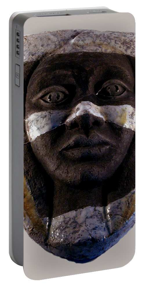 Ceramic Portable Battery Charger featuring the relief My Veils I by Madalena Lobao-Tello