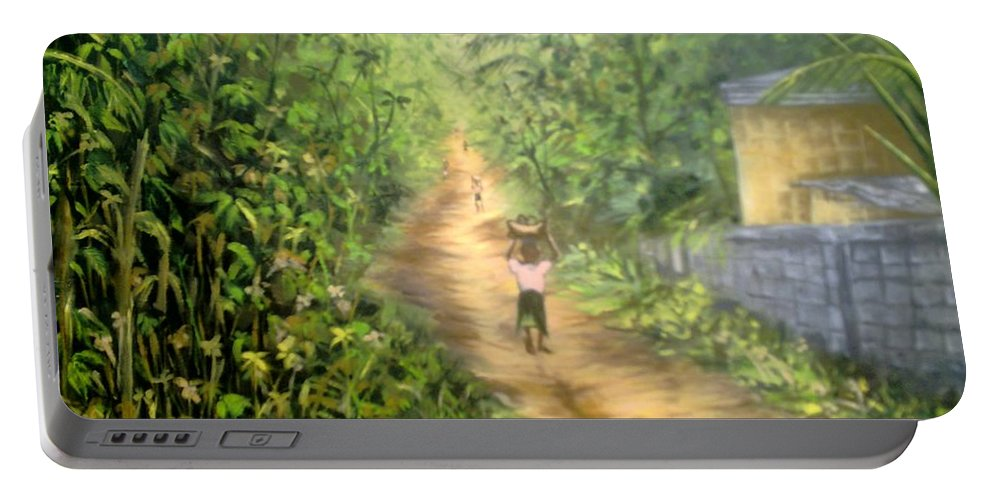 Culture Portable Battery Charger featuring the painting My Village by Olaoluwa Smith